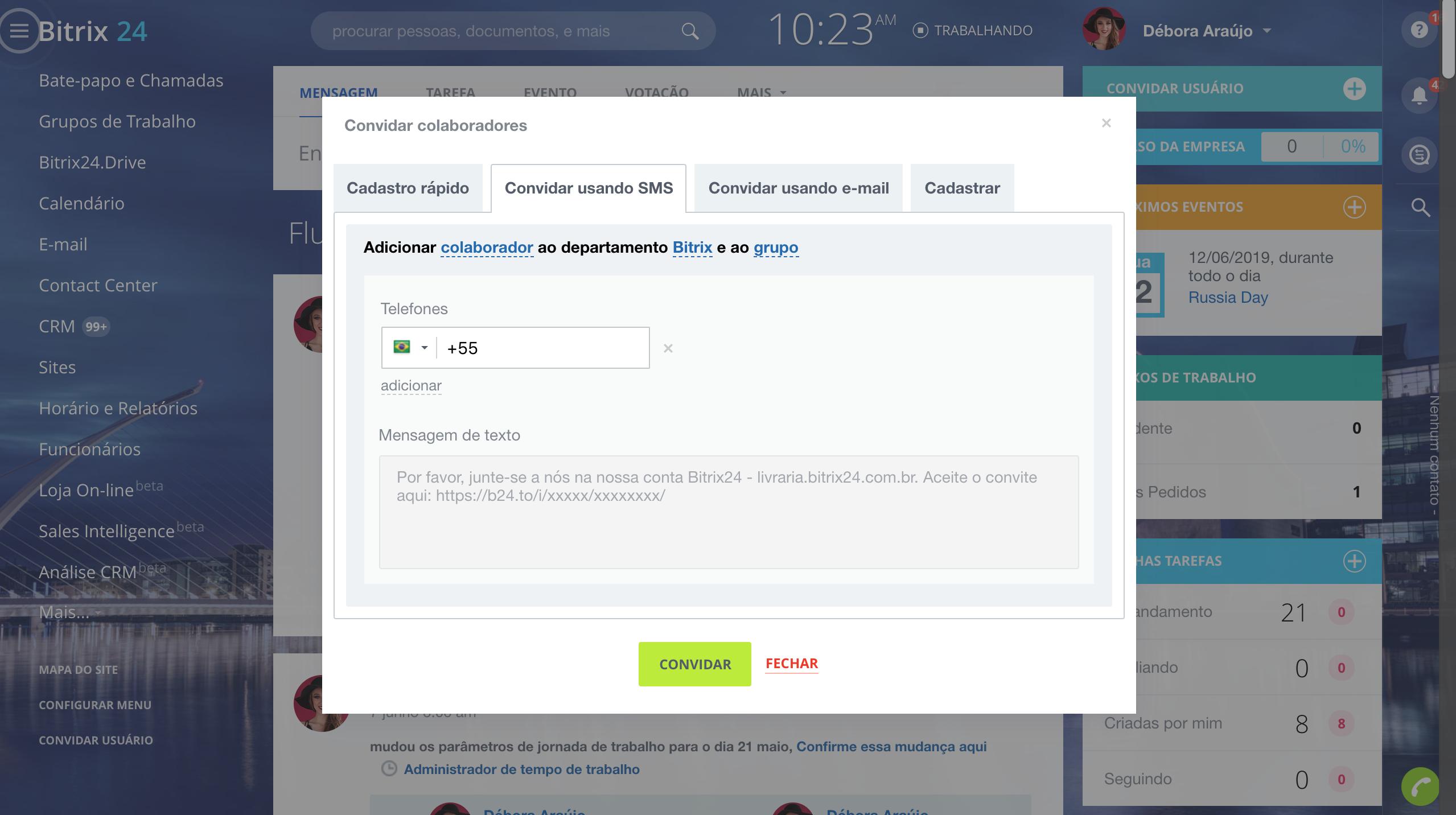 Novidade: Convide novos usuários via SMS