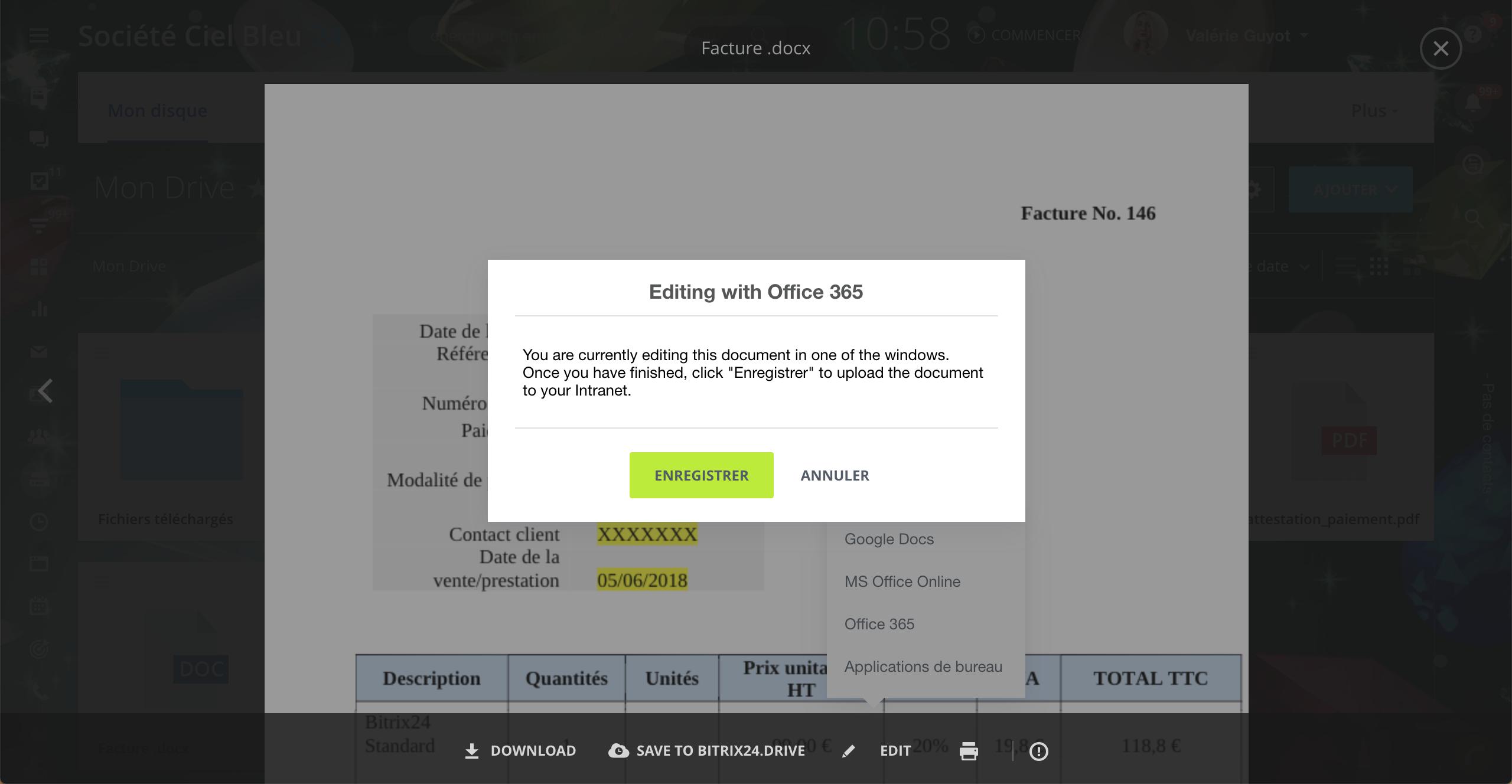 """L'option """"Afficher les documents avec Office 365"""" n'est pas disponible"""