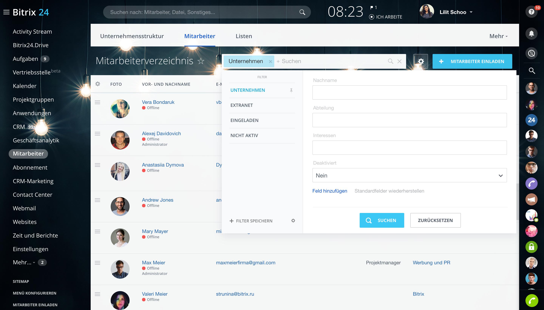 Filter und Suche im Mitarbeiterverzeichnis