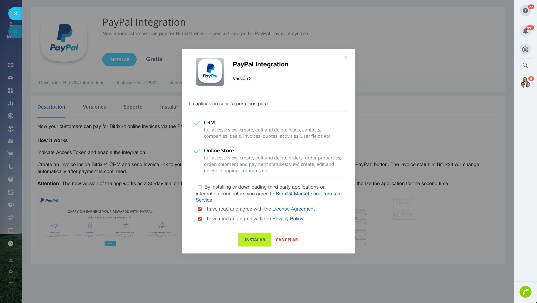Integración de Bitrix24 con PayPal