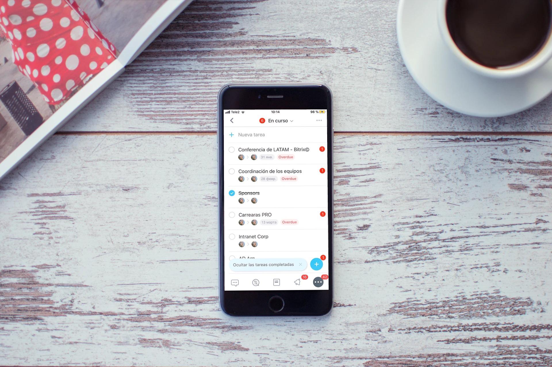 Actualización de las tareas en la app móvil