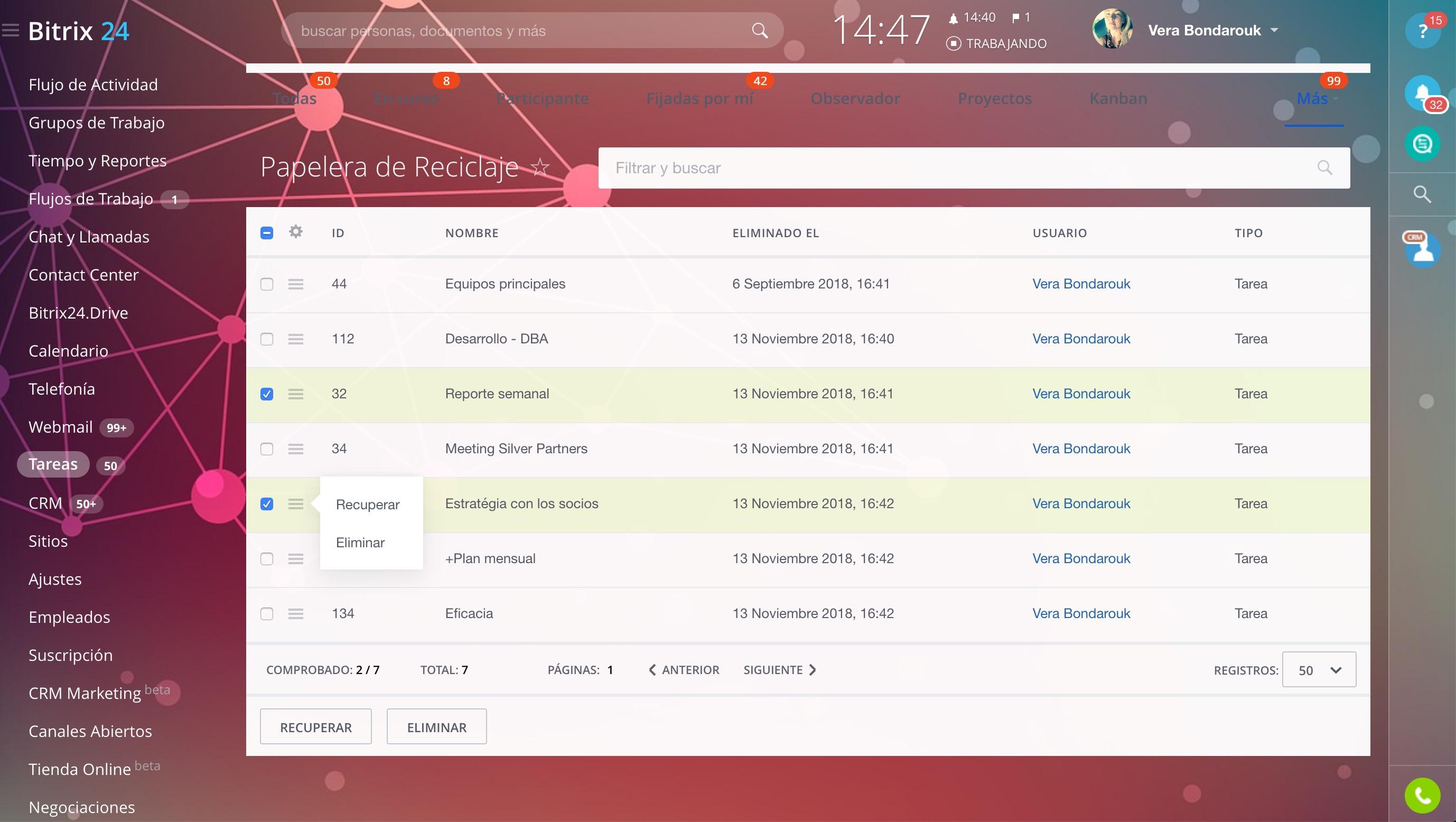 ¡Ahora puede restaurar las tareas eliminadas en Bitrix24!
