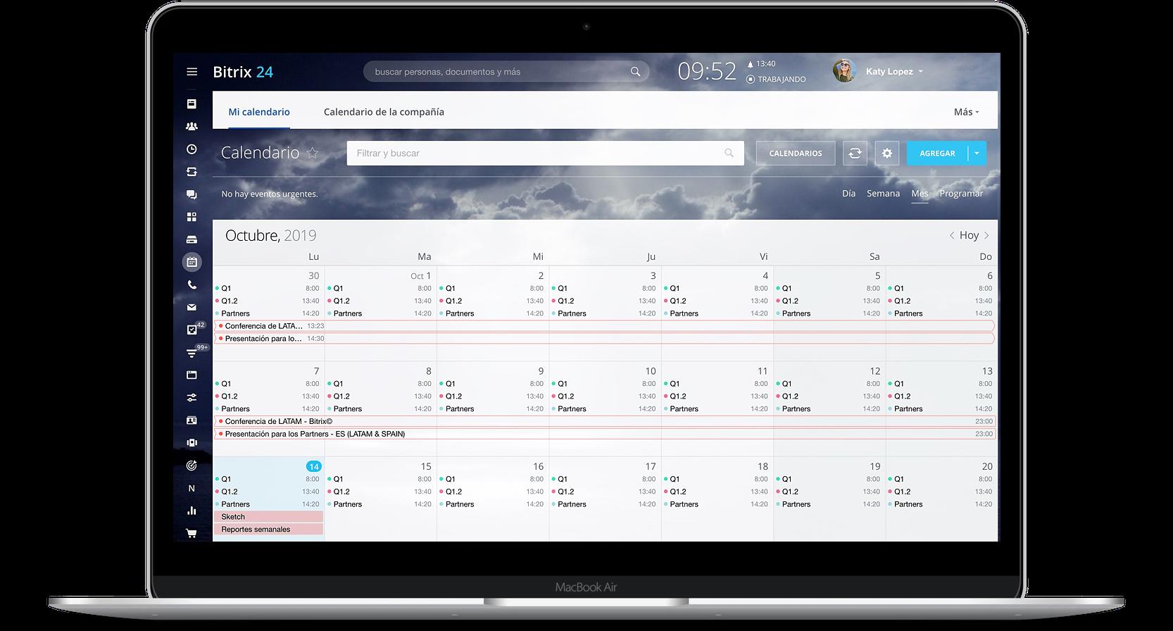 Deadline y vista de calendario dentro de las tareas