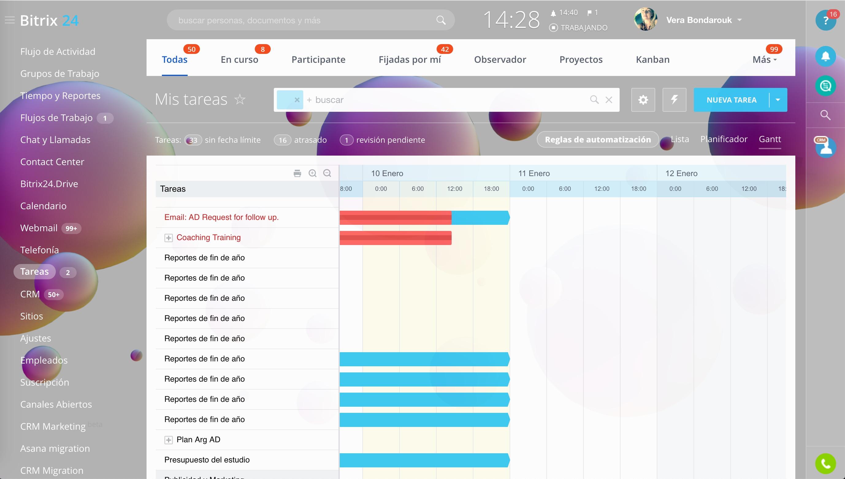Imprima el Diagrama de Gantt, el Calendario o cualquier otra página de Bitrix24