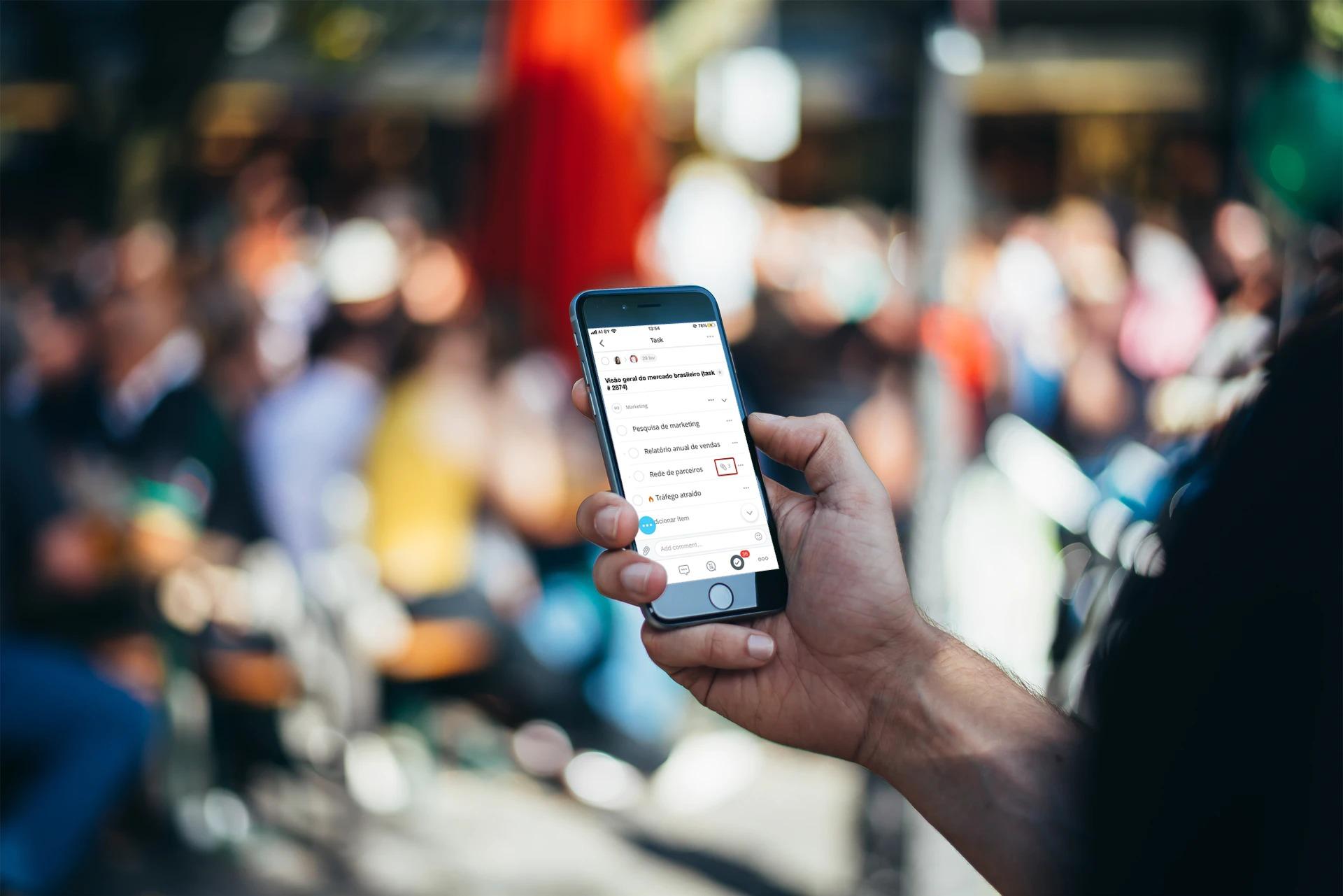 Listas de verificação em tarefas no aplicativo móvel