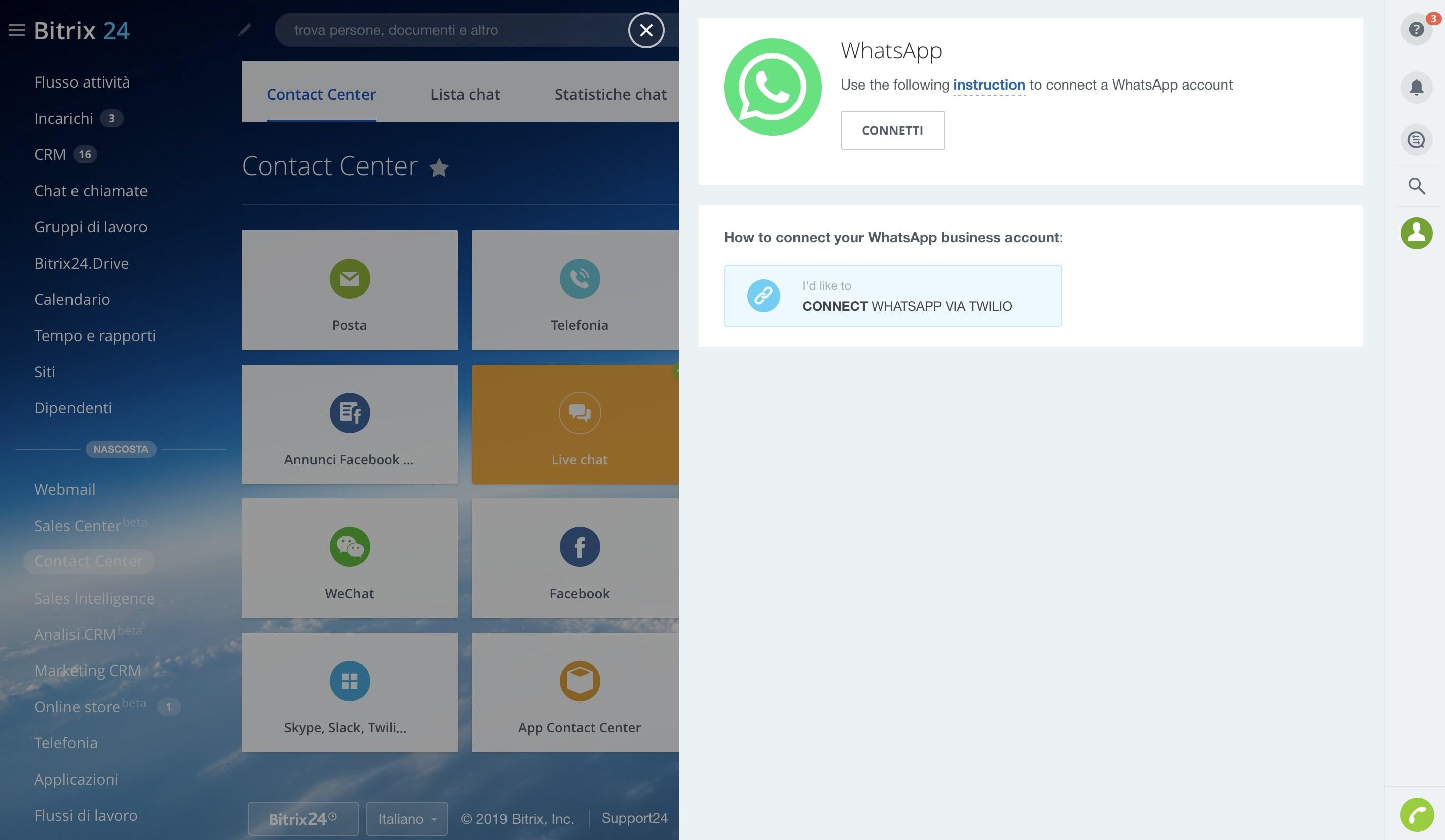 Connetti WhatsApp al tuo account Bitrix24