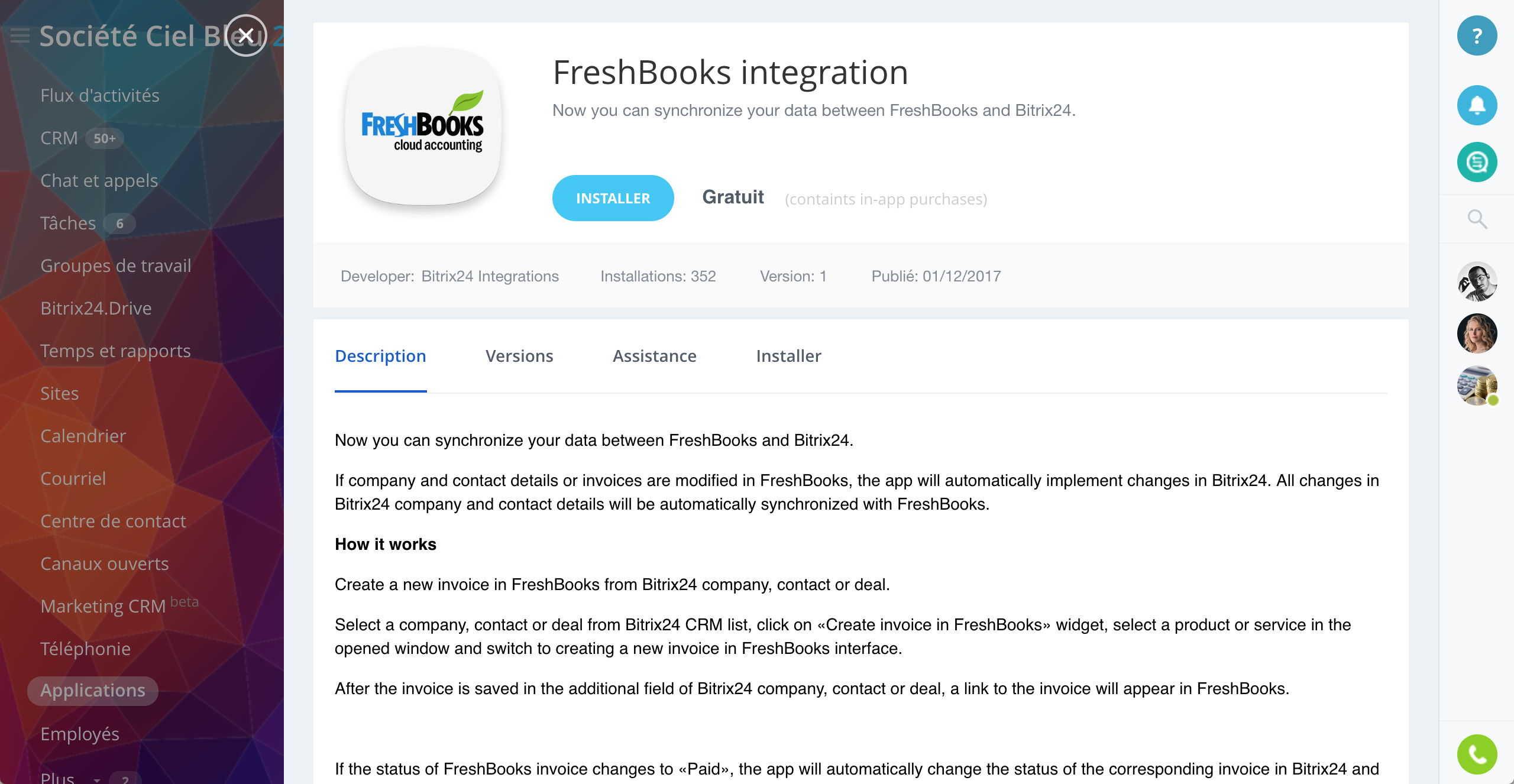 L'intégration de Freshbooks pour Bitrix24 est désormais disponible
