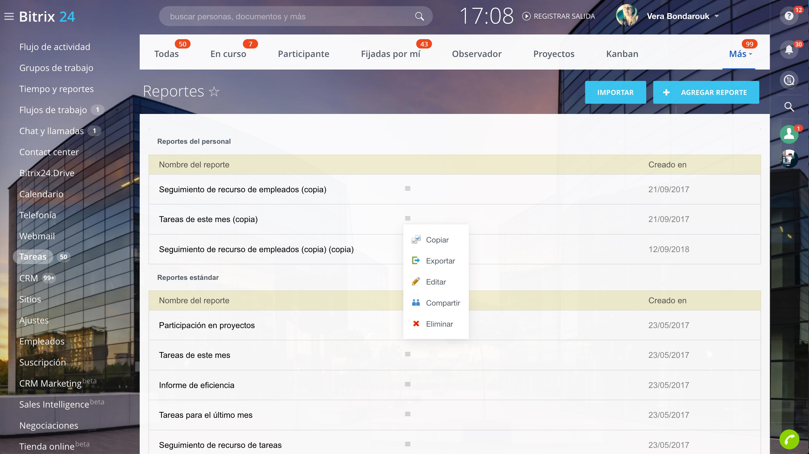 Reportes de las tareas en Bitrix24