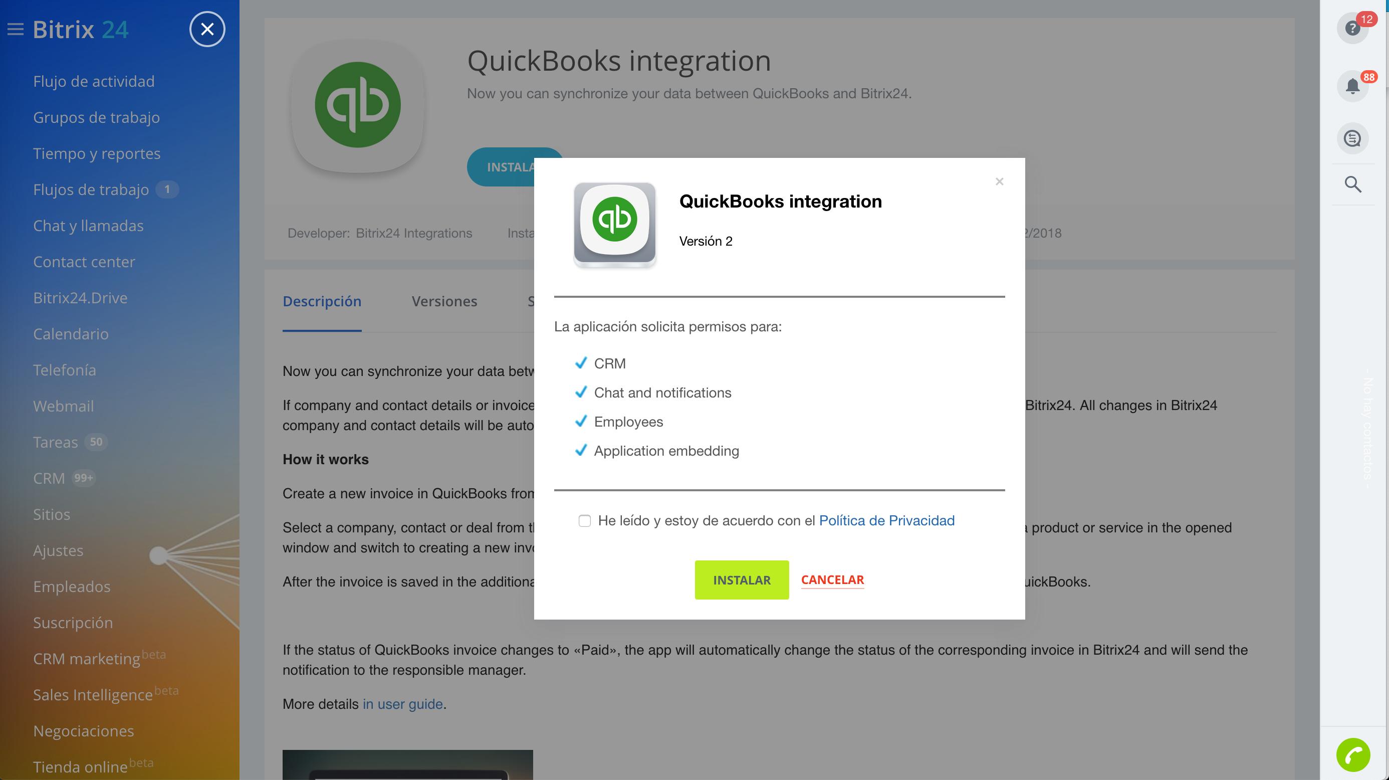 Ya llegó la integración de QuickBooks con Bitrix24