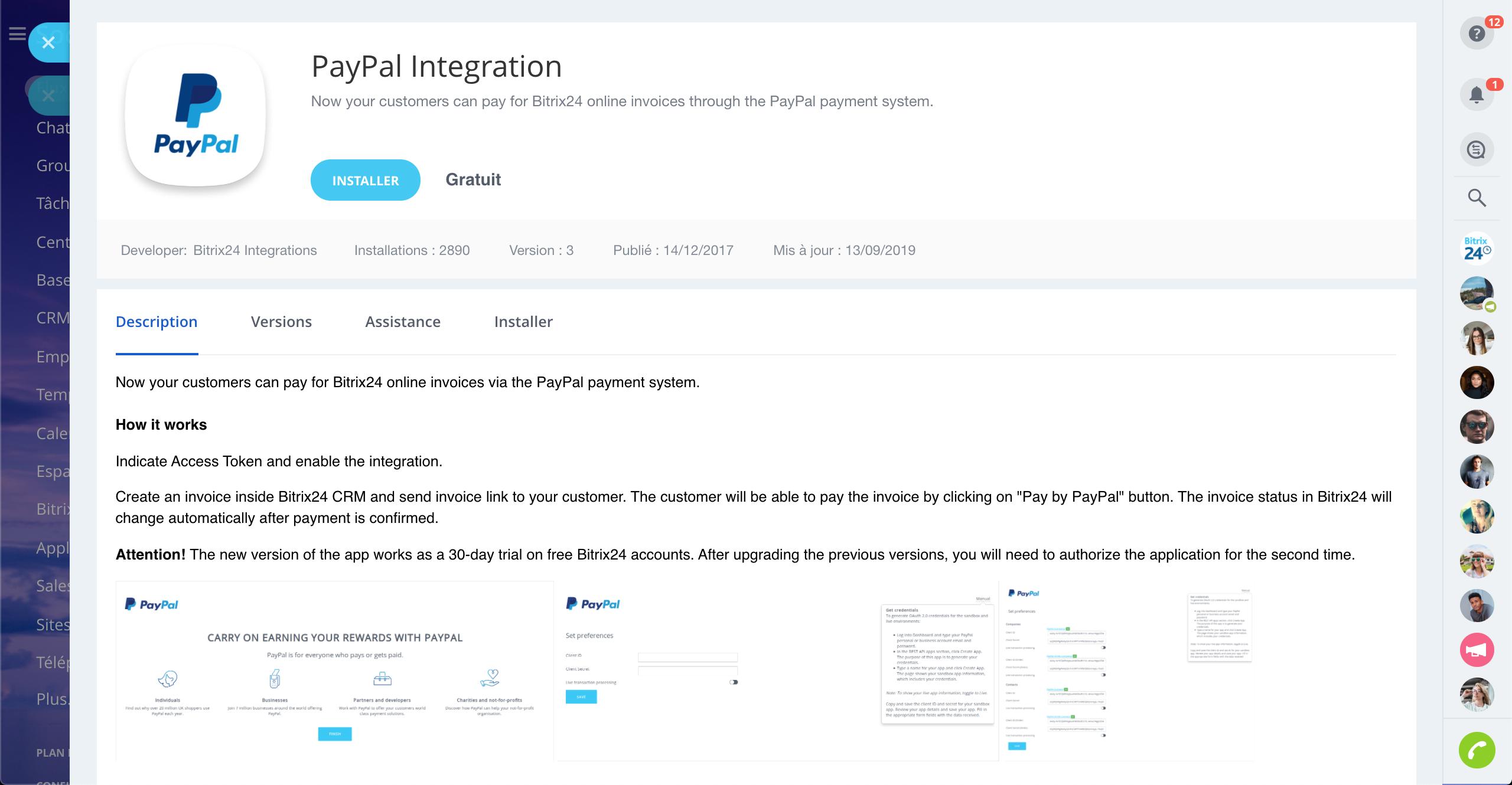 Intégration de Bitrix24 avec PayPal