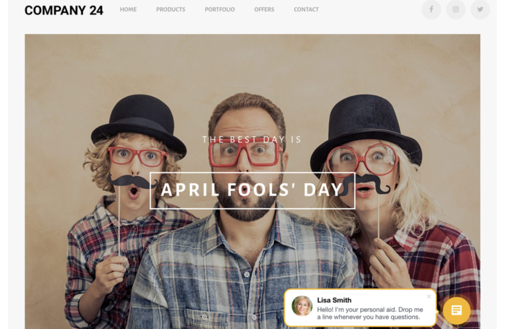 April Fools' Day Website Template For Bitrix24.Sites