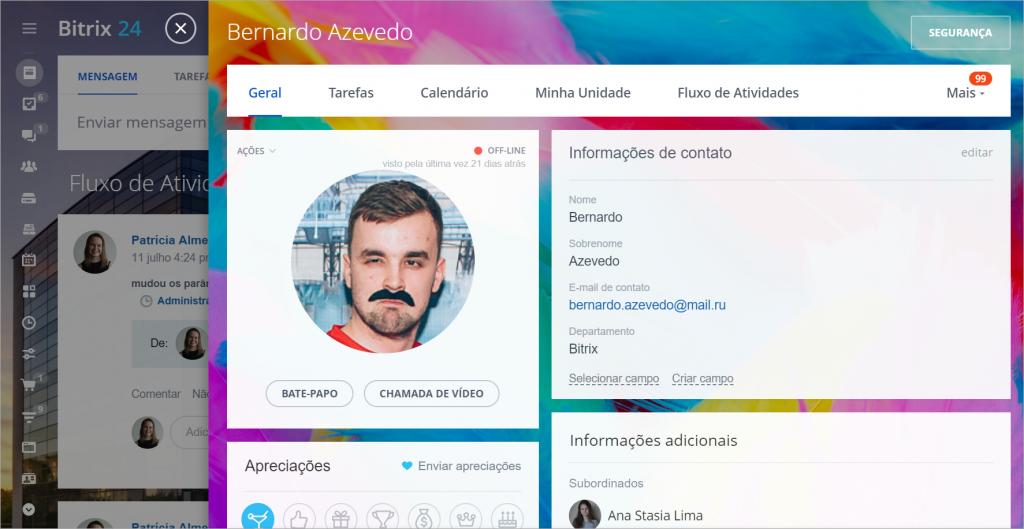 Novo perfil do usuário