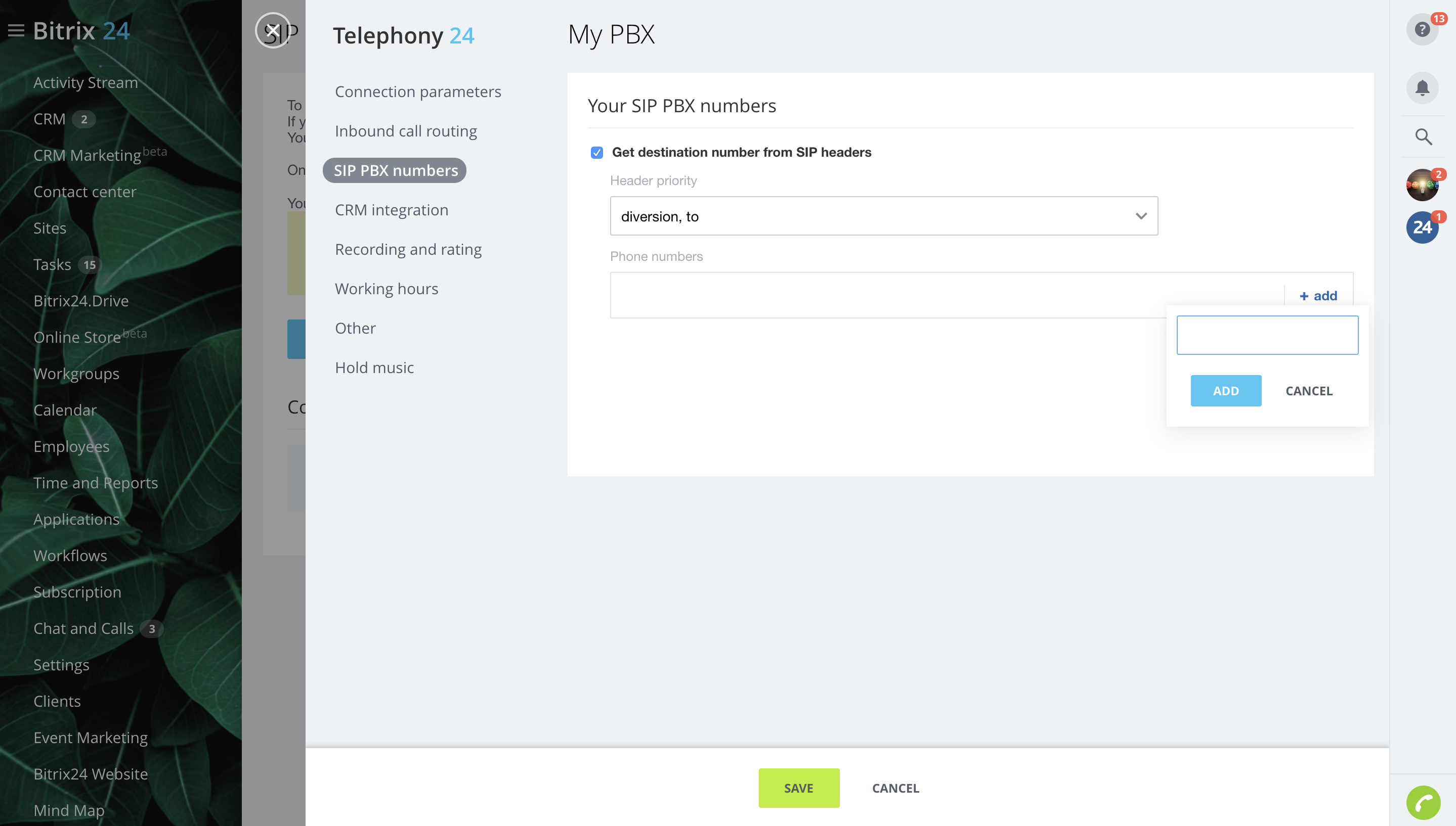 Call tracking: SIP PBX numbers