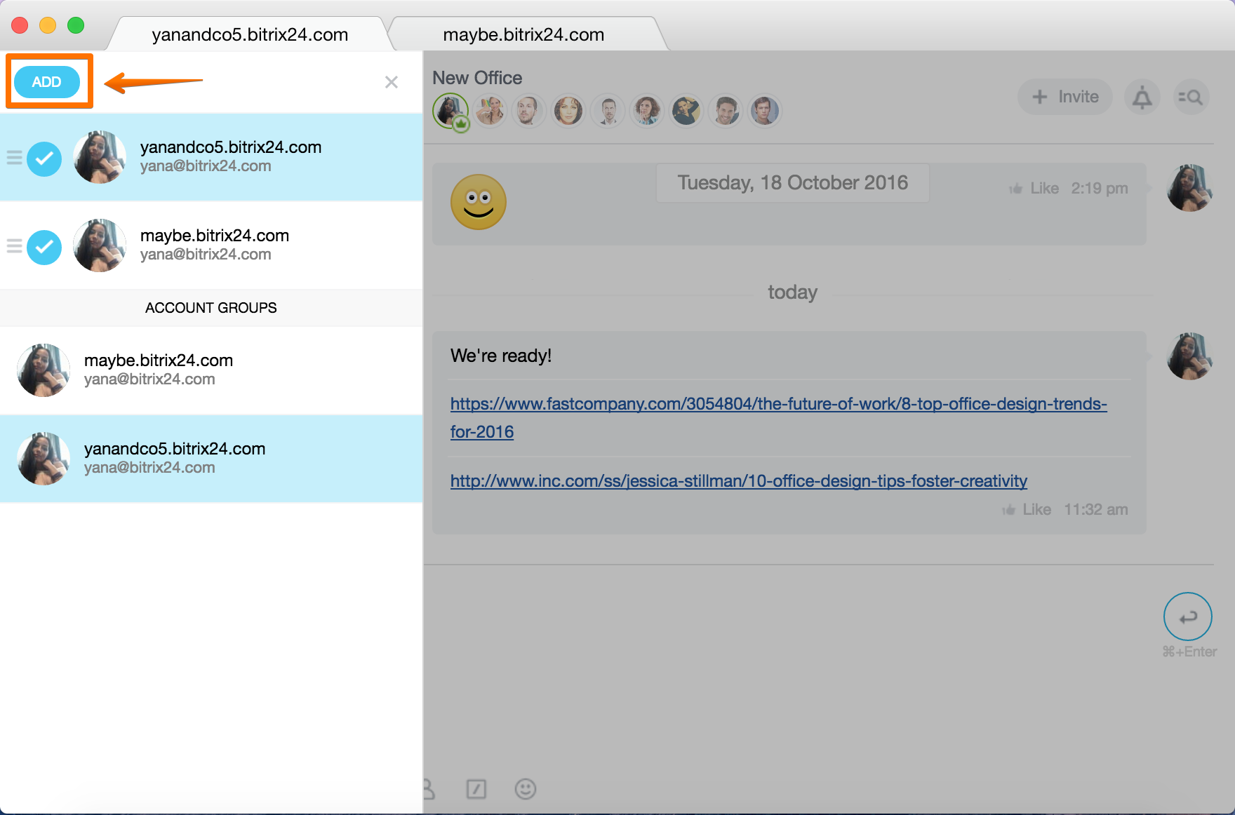 Multiple accounts in Bitrix24 Desktop app